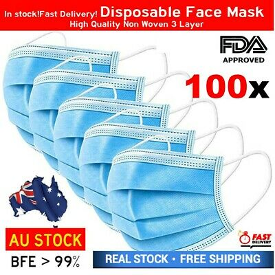 AU18.75 • Buy Protective Face Mask 3 Ply Layer Mouth Masks Anti Bacterial Filter Cover 100 PCS