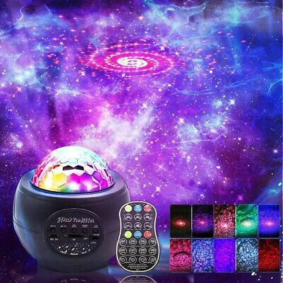 UK Galaxy Star Projector Music Night Light Starry Ocean Wave Lamp Remote Control • 19.99£