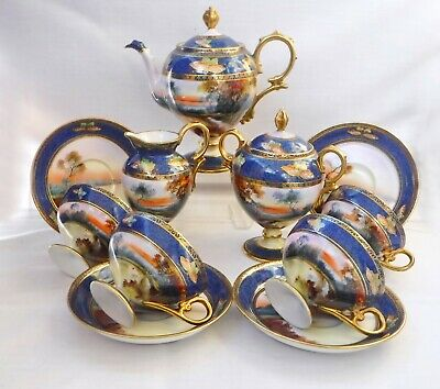 Fabulous Noritake Cobalt Pedestal Tea Set With BUTTERFLIES, Mint Condition ! • 495£