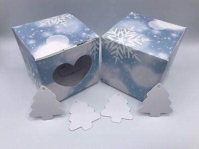 £5.99 • Buy 10cm Christmas Card Gift Box Sky Blue Snowflakes And Heart Shaped Window X 10