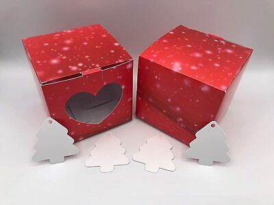 10cm Valentine's Day Card Gift Box Red With Sparkles & Heart Shaped Window X 10 • 6.49£
