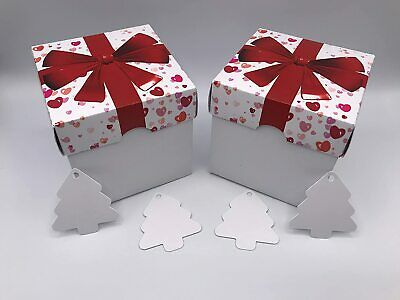 10cm Valentine's Day Party Card Gift Box Bow And Hearts Print With Lid X 10 • 8.99£