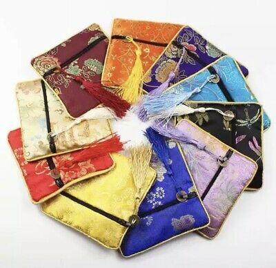 99p Chinese Handmade Satin Silk Embroidery Purse Wallet Bag Phone Coin Accessory • 66.99£