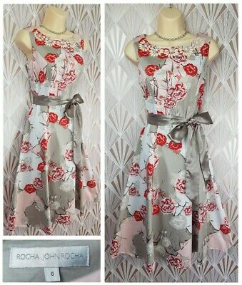 Rocha John Rocha Dress Size 8 Debenhams Occasion Red Floral Wedding Races Party • 19.99£