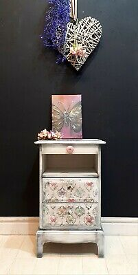 White  Butterfly Grunge Hand Painted Stag Bedside Cabinet With Original Art • 180£