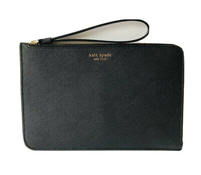 $ CDN52.25 • Buy Kate Spade Large L-Zip Cameron Saffiano Leather Wristlet Pouch Bag Black NWT