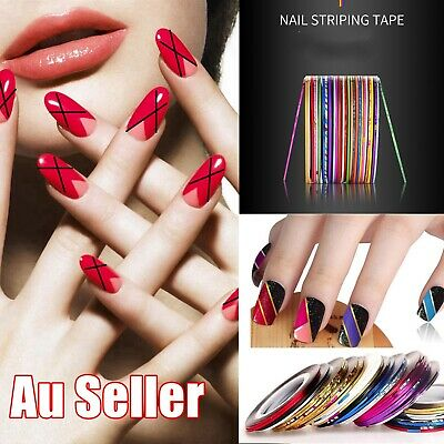 AU2.95 • Buy Nail Art Striping Tape Line Rolls Decoration Stickers Decals Tips DIY