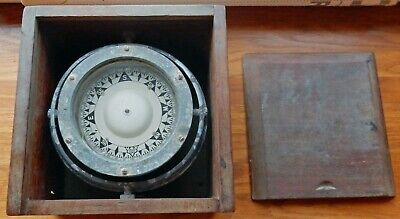 Early Vintage Sestrel Ships Compass In Original Mahogany Case • 160£