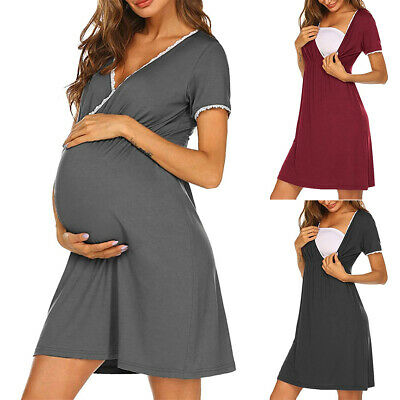 Ladies Labor Delivery Hospital Gown Breastfeeding Maternity Nursing Easy Dress • 11.89£