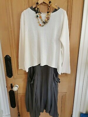 White Sweater Sarah Pacini Oversize M/l Slouch Glam Quirky Light • 29.99£