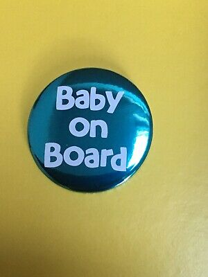 Baby On Board Teal Foiled Pregnancy Badge. Pregnant Baby Button Pin 58mm • 2£