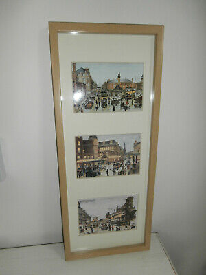 TERRY GORMAN SHEFFIELD SCENES 3 X SMALL PRINTS IN ONE FRAME MOUNTED FRAMED GIFT • 65£