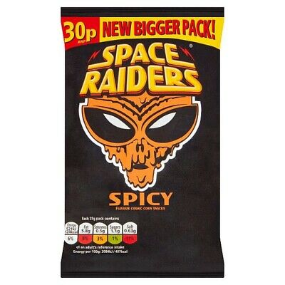 Space Raiders Spicy Flavour Cosmic Corn Snacks 25g Case Of 36 • 14.99£
