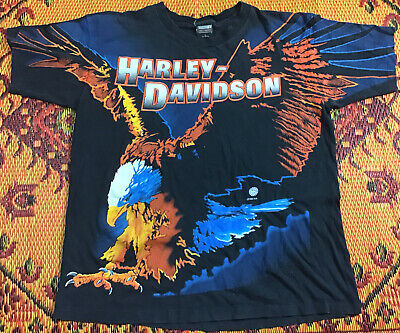 $ CDN53.57 • Buy Harley Davidson Eagle 1995 H-D Vintage Single Stitch Tshirt USA Made Size L