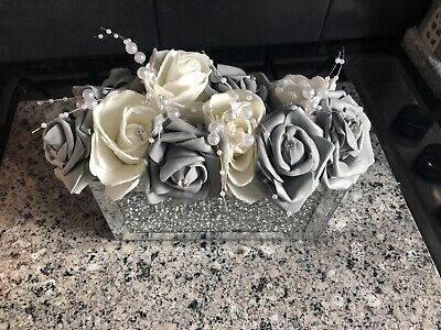 Silver Mirrored Crushed Diamond Vase With Grey & Cream Roses • 27.99£