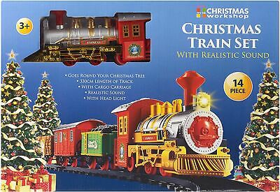 Deluxe Christmas 14 Pcs Train Set Sounds & Light 330cm Track Xmas Tree Toy • 12.49£