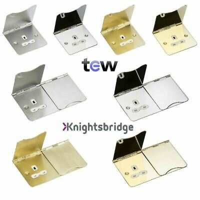 Knightsbridge Flat Plate Floor Sockets 1 Gang & 2 Gang Un-Switched • 17.55£