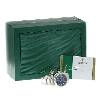 $ CDN9001.43 • Buy Rolex Datejust Watch Mens Stainless Steel Blue Index Oyster Band 36mm 116200
