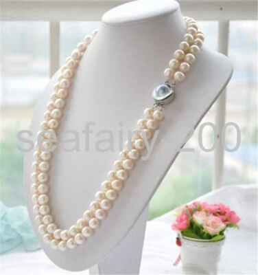 $79.99 • Buy 2row 25  11-12mm White Round White PEARL Necklace Mabe Clasp