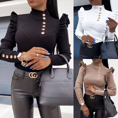 £13.89 • Buy Womens Ruffled Long Sleeve Jumper Blouse Ladies Casual High Neck Pullover Tops T