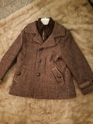 £50 • Buy Boys Brown Tweed Coat And Flat Cap Wool Age 7-8 Years Couche Tot New No Tags
