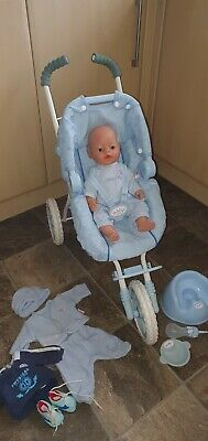 Baby Born Boy Doll And 3 Wheeler Pushchair Bundle • 25£