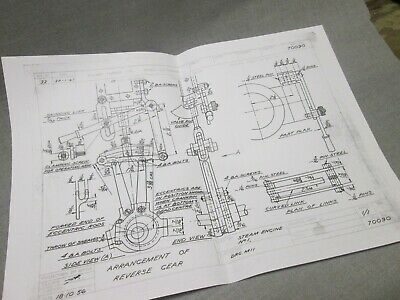 Stuart Turner Model Steam Engine No1 Reversing Gear Drawing Approx A3 Size  • 20£