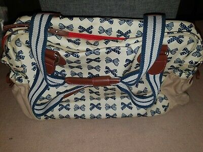 Pink Lining Yummy Mummy Baby Changing Bag Navy Bow Excellent Condition • 5.99£