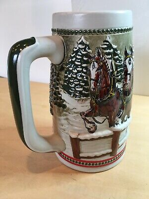 "$ CDN11.78 • Buy 1984  Budweiser Holiday Stein Only. ""through A Covered Bridge"""