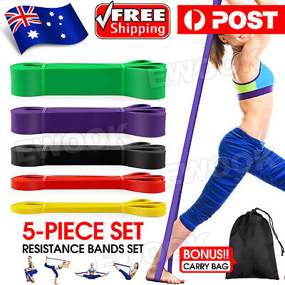 AU30.95 • Buy SET Of 5 Heavy Duty Resistance Yoga Bands Loop Exercise Fitness Workout Band Gym
