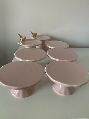 6 Pink Individual Cupcake Stands - Porcelain - Vintage Style • 15£