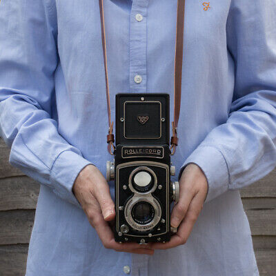 TLR Leather Camera Neck / Shoulder Strap, Rolleicord, Rolleiflex , Yashica Mat • 35£