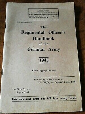 Ww2 British Army Officer's Handbook Of The GERMAN ARMY • 5£
