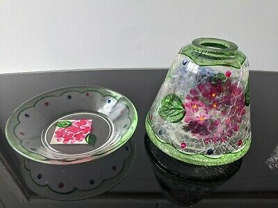 Yankee Candle - Spring Crackle - Small Shade + Plate Set - BRAND NEW UNUSED !! • 9£