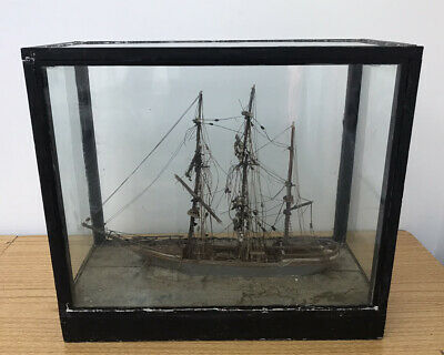 Vintage Model Sailing Military Merchant Navy Ship In Glass Case Classic  • 40£