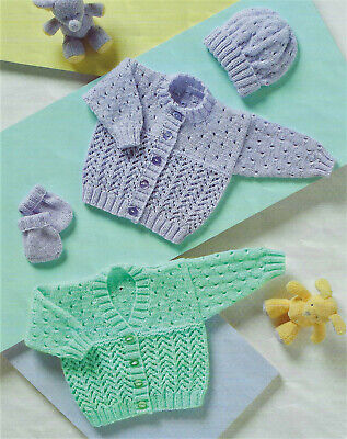 £2.79 • Buy Baby Knitting Pattern For Cardigans,Hat & Mitts In DK To Fit Prem-2yrs  B74