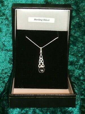 £22 • Buy Whitby Jet & 925 Silver Celtic Pendant + 18  Chain New With Box P/01