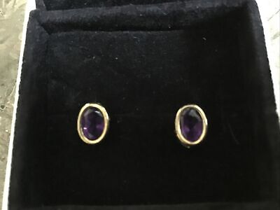 Gold Amethyst Stud Earrings • 9.30£