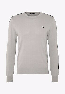 J Lindeberg Kevin Pima Cotton Crew Neck Jumper Stone Grey Clearance Large • 69.95£