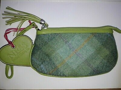 Ness Scotland Clothing Co Lime Green Tweed Clutch Bag With Wrist Strap • 7£