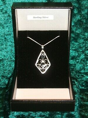 £24 • Buy Whitby Jet & 925 Sterling Silver Pendant + 18  Chain New With Box P/11