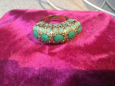 $ CDN15.70 • Buy LIA SOPHIA Antique Gold-tone Green Stone Crystal Accents Ring  Size 9