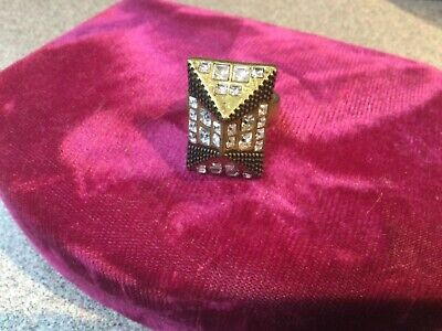 $ CDN13.08 • Buy LIA SOPHIA Antique Gold-tone Pyramid Style Ring W/ Crystals Size 7