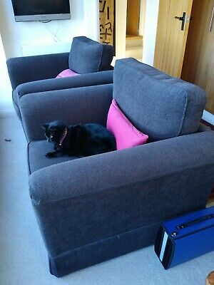 Pair Marks And Spencer Dark Brown Fabric Armchairs Used In Good Condition • 0.99£