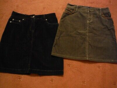 2x Boden Cord Mini Skirts In Size 10R - Chocolate And Black • 15£