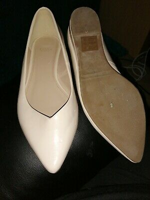 Nude Wedge Patent Court Shoes Size 7EEE From Evans • 2.50£
