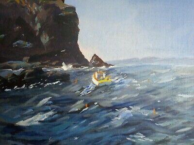 Atmospheric Oil Painting On Boad Boat On A Rough Sea Monogram A.p • 14.99£
