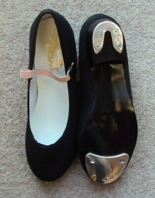 Tap Shoes Size UK 3 Black Canvas Low Heel Toe & Heel Taps By Dance Depot NEW • 2.99£