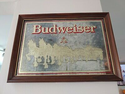 $ CDN32.44 • Buy Vintage Budweiser Clydesdale Bar Mirror Sign 20x15 Smoked Glass Gold