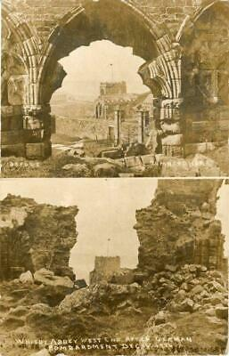 Real Photo Multiview Bombardment Postcard Of Whitby Abbey, North Yorkshire, Ross • 15£
